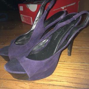 Jessica Simpson purple slingback peep toe heels